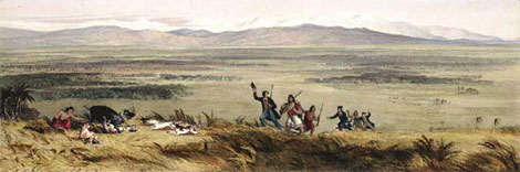 The Plain of the Ruamahunga, opening into Palliser Bay near Wellington. Hand-coloured lithograph from original watercolour - Samuel Brees, 1810–1865 - Alexander Turnbull Library